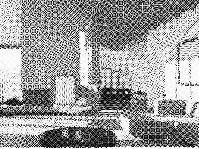 a pixelated room in black and white